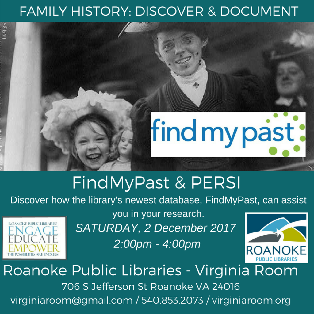 Using FindMyPast & PERSI @ Virginia Room