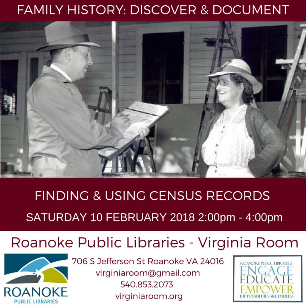 Finding & Using Census Records @ Virginia Room