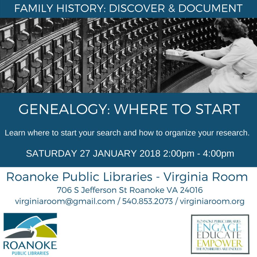 Genealogy: Where to Start @ Virginia Room