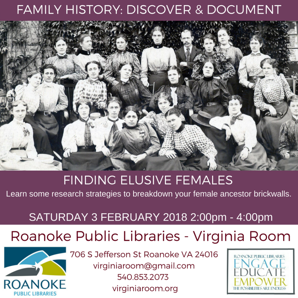 Finding Elusive Females @ Virginia Room
